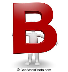 3D Human charcter holding red letter B, 3d render, isolated...