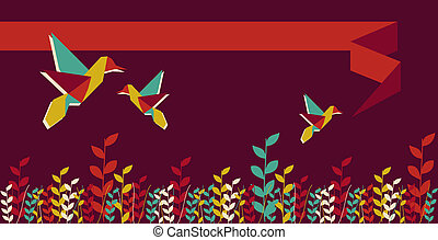 Origami hummingbird group banner - Origami hummingbird...