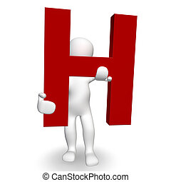 3D Human charcter holding red letter H, 3d render, isolated...