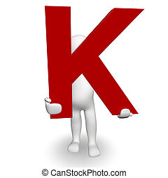 3D Human charcter holding red letter K, 3d render, isolated...
