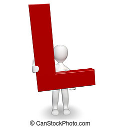 3D Human charcter holding red letter L, 3d render, isolated...