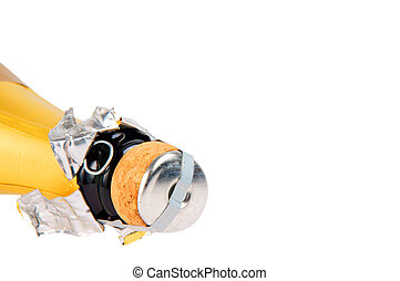 champagne bottle over a white background