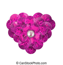 pink diamond heart on a white background