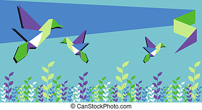 Origami hummingbird spring time - Origami hummingbird group...
