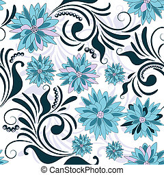 Repeating floral pattern with blue flowers (vector)