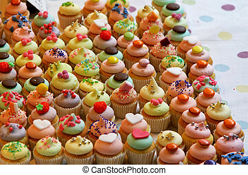 Cup cakes - Bunch of tasty colorful cupcakes with decoration...