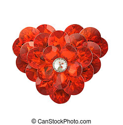 red diamond heart on a white background