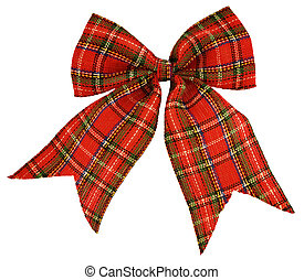 red bow out of the Scottish material, isolated on white
