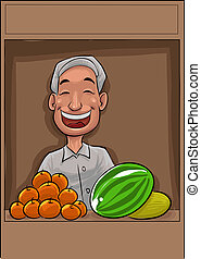 the fuit vendor - happy vendor smiling with his fresh fruits...