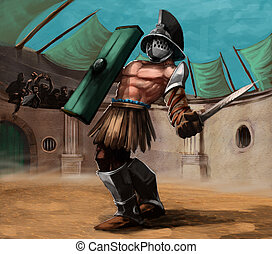 the gladiator - gladiator in the stadium in a fight, he has...