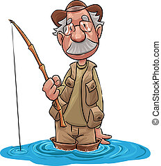 old fisherman waiting for the fish take the fish hook