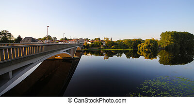 river city2(8).jpg - quiet town river. arched bridge. in the...