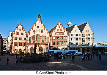 Roemerberg in Frankfurt, the former historic city center -...