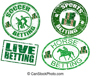 Set of betting stamps - Grunge rubber stamps with horse,...