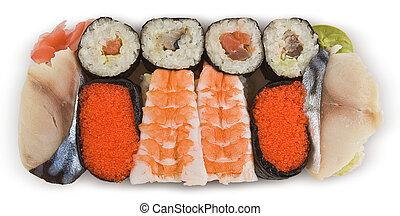 sushi -  Assorted Japanese sushi, isolated on white