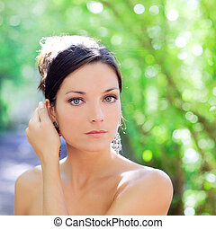 beautiful blue eyes woman outdoor park