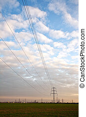 electrical tower and open air power line in nice landscape...