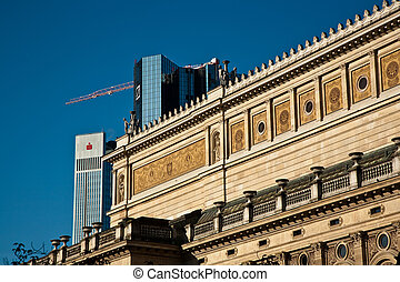 old opera house in Frankfurt with blue sky