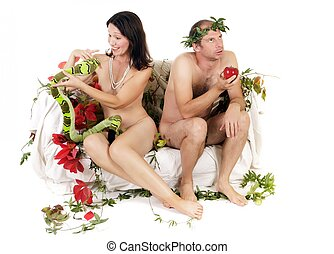 naked couple problems - kitsch adam and eve couple having...