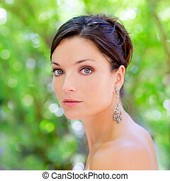 bonito, azul, olhos, mulher, Ao ar livre, parque