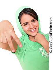 hip hop girl - young woman with green blouse isolated over...