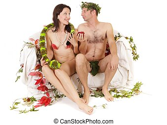 adam and eve seduction - kitsch couple adam and eve...