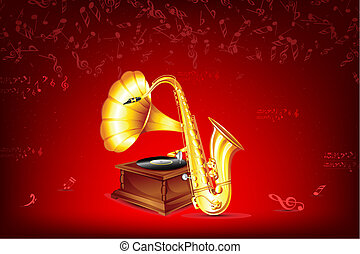 Gramophone and Saxophone - illustration of gramophone and...