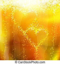 two hearts of the bubbles in a glass of champagne, romantic...