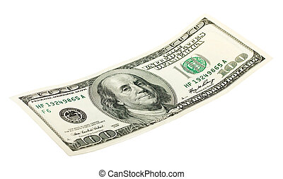 100 dollar bill on an isolated white background