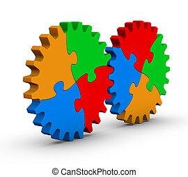 dois, Engrenagens, coloridos, jigsaw, Quebra-cabeças