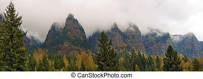 Mountain Mist Along Columbia River Gorge in Fall