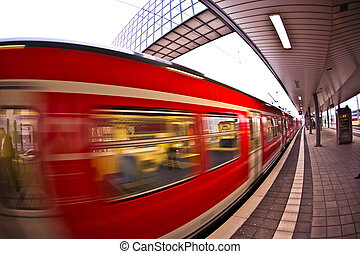 incoming train in Station