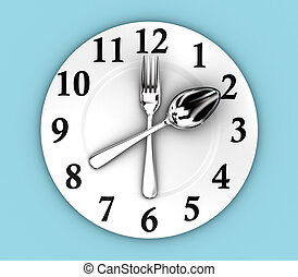 The clock - Illustration of fork and spoon as a clock