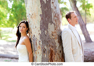 Couple happy in love at park outdoor tree