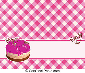 checkered background with cake