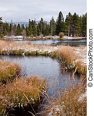 First Snow - FIrst snow at Sprague Lake in Rocky Mountain...