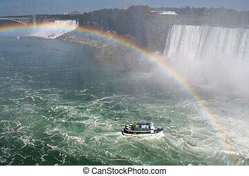 Boat Under the Rainbow - The Maid of the Mist in the swell...