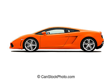 Supercar - White modern supercar isolated on white