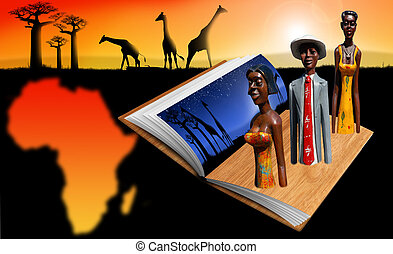 Book black Africa - Illustration with open book, african...