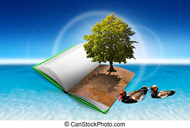 Book with tree and ducks