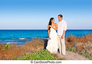 couple in love in the beach on Mediterranean