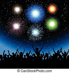 Party with fireworks - Silhouette of a party crowd against a...