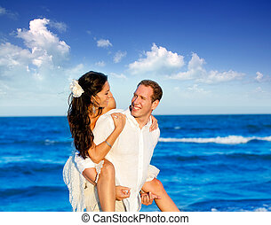 couple beach vacation in honeymoon trip on Mediterranean