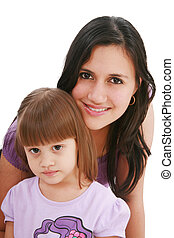 Beautiful happy mom with her daughter isolated on white