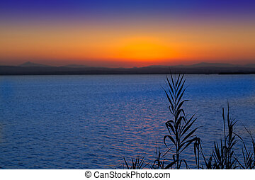 sunset in Albufera lake Valencia Mediterranean Spain