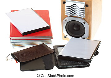 glasses eBook reader pile of books, isolated on white -...