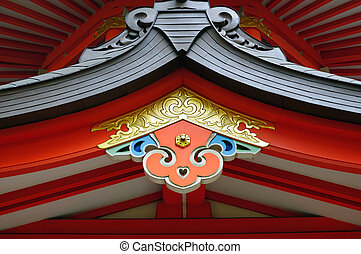 Red roof - The red roof on the temple in Japan
