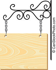 wooden signboard and metal decoration - vector wooden...