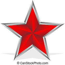 Red star on white background - vector