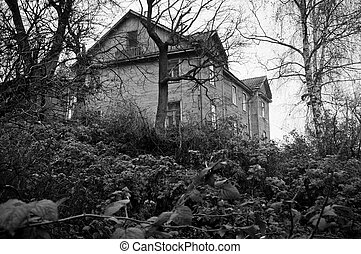 Lonely dark house on the hill - Lonely, dark abandoned house...